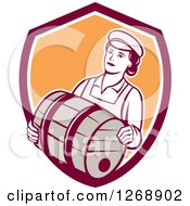 Clipart Of A Retro Female Bartender Carrying A Beer Keg Barrel In A Shield Royalty Free Vector Illustration