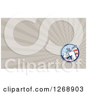 Clipart Of A Retro Baseball Batter And American Flag Over Taupe Rays Business Card Design Royalty Free Illustration