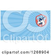 Clipart Of A Retro Baseball Batter And American Flag Over Blue Rays Business Card Design Royalty Free Illustration