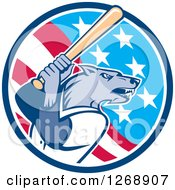Clipart Of A Baseball Wolf Batting In An American Flag Circle Royalty Free Vector Illustration