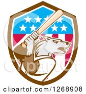 Clipart Of A Baseball Wolf Batting In An American Flag Shield Royalty Free Vector Illustration