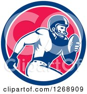 Clipart Of A Retro Running American Football Player In A Blue White And Pink Circle Royalty Free Vector Illustration