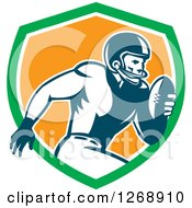 Clipart Of A Retro Running American Football Player In A Green White And Orange Shield Royalty Free Vector Illustration