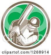 Clipart Of A Retro Cricket Batsman Player In A Brown White And Green Circle Royalty Free Vector Illustration