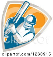 Clipart Of A Retro Cricket Batsman Player In A Taupe White And Orange Shield Royalty Free Vector Illustration
