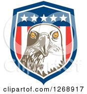 Clipart Of A Retro Bald Eagle Head In An American Flag Shield Royalty Free Vector Illustration