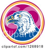 Clipart Of A Retro Bald Eagle Head In A Purple Yellow And White Circle Royalty Free Vector Illustration