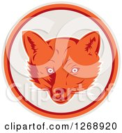 Clipart Of A Retro Fox Face In A Gray Orange And Maroon Circle Royalty Free Vector Illustration by patrimonio