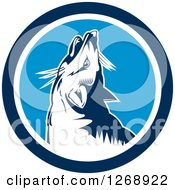 Clipart Of A Retro Howling Fox In A Blue And White Circle Royalty Free Vector Illustration by patrimonio