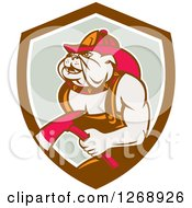 Clipart Of A Retro Bulldog Fireman Holding An Axe In A Brown White And Gray Shield Royalty Free Vector Illustration by patrimonio
