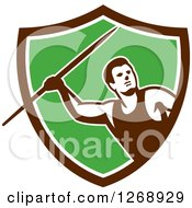 Retro Male Track And Field Javelin Thrower In A Brown White And Green Shield