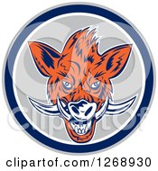 Clipart Of A Razorback Boar Head In A Gray Blue And White Circle Royalty Free Vector Illustration