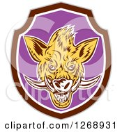 Clipart Of A Razorback Boar Head In A Brown White And Purple Shield Royalty Free Vector Illustration