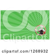 Clipart Of A Retro Chef And Pizzeria Business Card Design With Green Rays Royalty Free Illustration by patrimonio