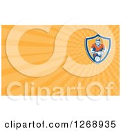 Clipart Of A Retro Running Rugby Player And Orange Rays Business Card Design 2 Royalty Free Illustration