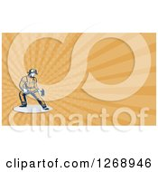 Clipart Of A Retro Fireman Holding An Axe Over An Orange Ray Business Card Design 3 Royalty Free Illustration