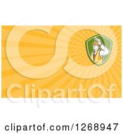 Clipart Of A Retro Construction Foreman In A Shield Background Or Business Card Design Royalty Free Illustration by patrimonio