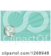 Clipart Of A Retro Female House Painter On A Turquoise Ray Business Card Design Royalty Free Illustration