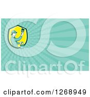 Clipart Of A Retro Female House Painter Holding A Brush And Bucket On A Turquoise Ray Business Card Design Royalty Free Illustration