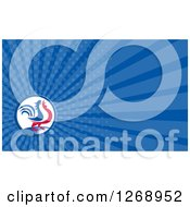 Clipart Of A Retro Crowing Rooster On A Blue Ray Business Card Design Royalty Free Illustration