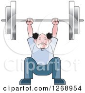 Clipart Of A Senior Man Squatting And Lifting A Barbell Over His Head Royalty Free Vector Illustration by Lal Perera