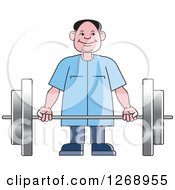 Clipart Of A Happy Senior Man Working Out With A Barbell Royalty Free Vector Illustration