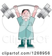 Clipart Of A Senior Man Lifting A Heavy Barbell Over His Head Royalty Free Vector Illustration by Lal Perera