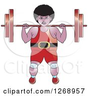 Clipart Of A Black Bodybuilder Woman Working Out With A Barbell Royalty Free Vector Illustration by Lal Perera