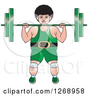 Clipart Of A White Bodybuilder Woman Working Out With A Barbell Royalty Free Vector Illustration by Lal Perera