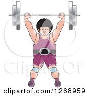 Clipart Of A White Bodybuilder Woman Lifting A Barbell Over Her Head Royalty Free Vector Illustration by Lal Perera