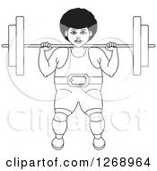 Clipart Of A Black And White Outlined Bodybuilder Woman Working Out With A Barbell On Her Shoulders Royalty Free Vector Illustration