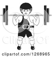 Clipart Of A Black And White Bodybuilder Woman Working Out With A Barbell On Her Shoulders Royalty Free Vector Illustration