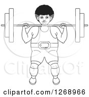 Clipart Of A Black And White Outlined Bodybuilder Woman Working Out With A Barbell On The Front Of Her Shoulders Royalty Free Vector Illustration
