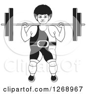 Clipart Of A Black And White Bodybuilder Woman Working Out With A Barbell On The Front Of Her Shoulders Royalty Free Vector Illustration