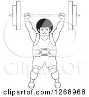 Clipart Of A Black And White Outlined Bodybuilder Woman Lifting A Barbell Over Her Head Royalty Free Vector Illustration