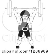 Clipart Of A Black And White Bodybuilder Woman Lifting A Barbell Over Her Head Royalty Free Vector Illustration by Lal Perera
