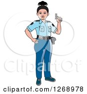 Clipart Of A Slim Police Woman Holding A Pistol Royalty Free Vector Illustration by Lal Perera