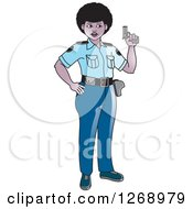 Clipart Of A Slim Black Police Woman Holding A Pistol Royalty Free Vector Illustration
