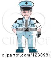 Clipart Of A Chubby Police Woman Standing Royalty Free Vector Illustration by Lal Perera