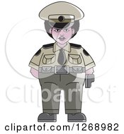 Clipart Of A Chubby Black Police Woman Standing Royalty Free Vector Illustration by Lal Perera