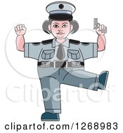 Chubby Police Woman Standing On One Leg And Holding A Pistol