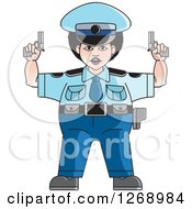 Chubby Police Woman Holding Pistols