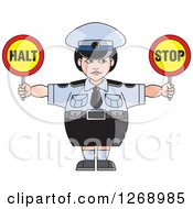 Chubby Police Woman Holding Stop Signs