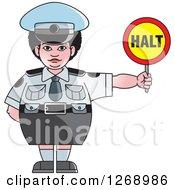 Chubby Police Woman Holding A Halt Sign