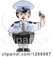 Chubby Police Woman In A Skirt Holding A Pistol