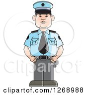 Clipart Of A Police Man Standing In Uniform Royalty Free Vector Illustration by Lal Perera