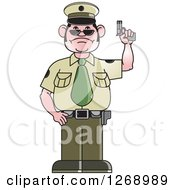 Clipart Of A Police Man Holding A Firearm Royalty Free Vector Illustration by Lal Perera