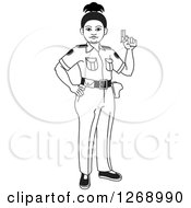 Clipart Of A Black And White Slim Police Woman Holding A Pistol Royalty Free Vector Illustration