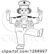 Clipart Of A Black And White Chubby Police Woman Standing On One Leg And Holding A Pistol Royalty Free Vector Illustration by Lal Perera