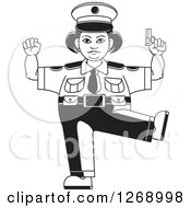 Clipart Of A Black And White Chubby Police Woman Standing On One Leg And Holding A Pistol 2 Royalty Free Vector Illustration by Lal Perera